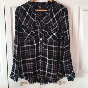 {RAILS} Frayed Hem Black Gray Plaid Shirt L